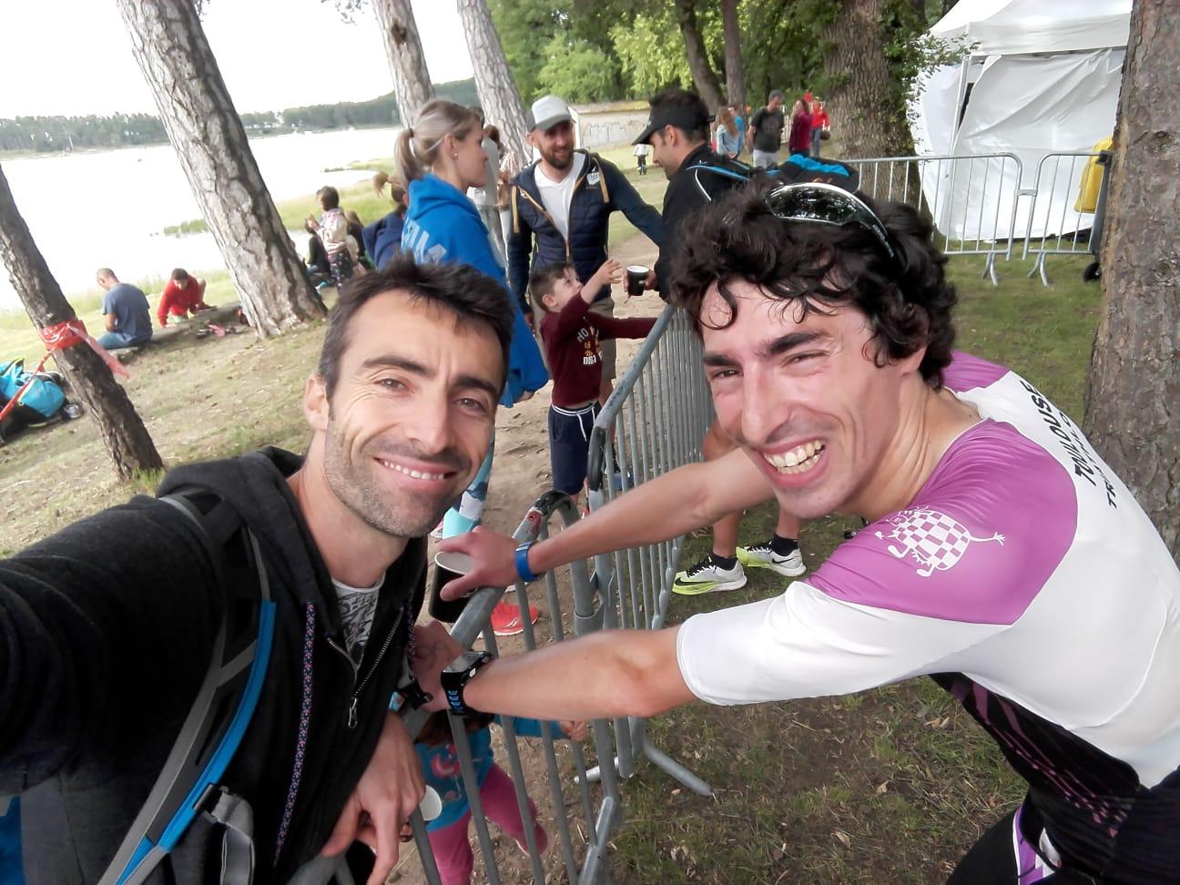 Valentin et Hugo à l'arrivée du Triathlon L de Revel 2018