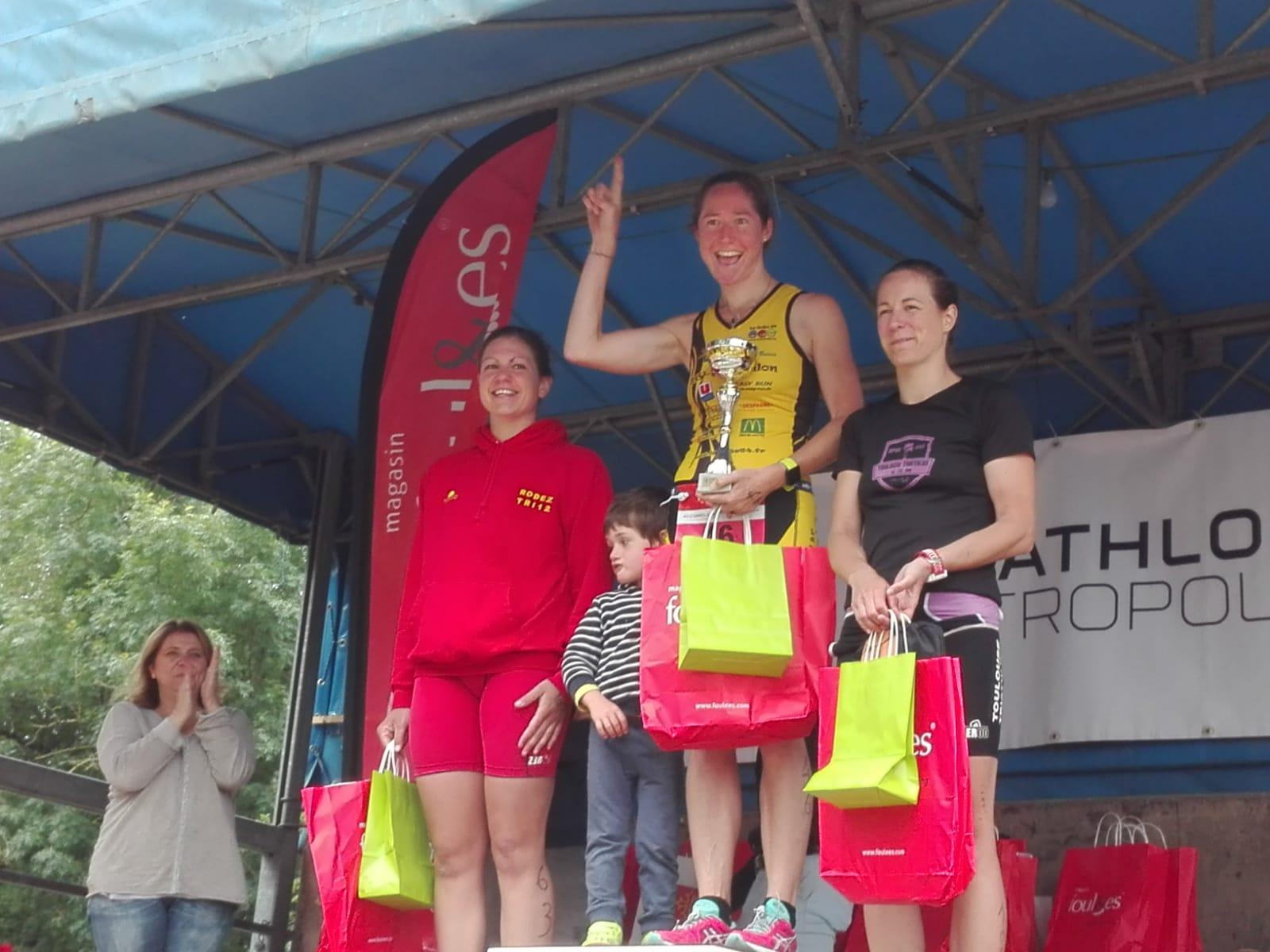 Le podium féminin du Triathlon M de Revel 2018