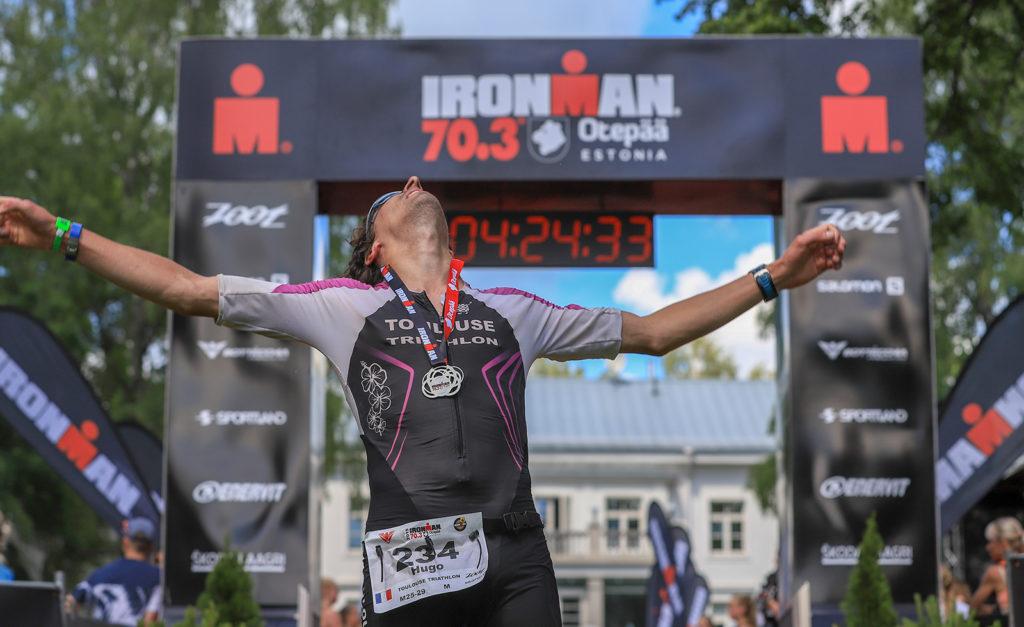 Hugo à l'arrivée de l'Ironman 70.3 Otepää 2019